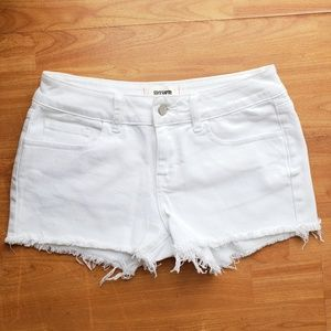 PINK VS cut off Jean shorts in White